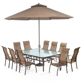 """Furniture Oasis Outdoor Aluminum 11-Pc. Dining Set (84"""" x 60"""" Dining Table and 10 Dining Chairs), Created for Macy's"""