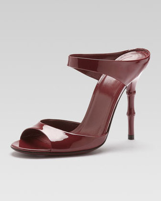 Gucci Bamboo-Heel Patent Leather Sandal, Scarlet
