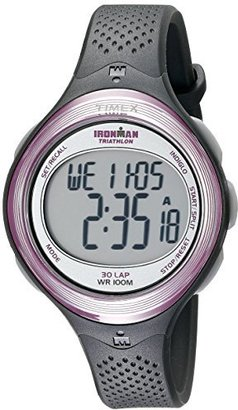 Timex Women's T5K600 Ironman Clear View 30-Lap Dark Gray/Pink Resin Strap Watch $79.95 thestylecure.com