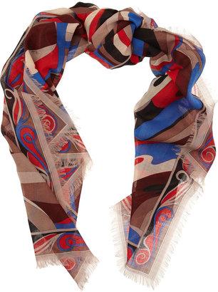Emilio Pucci Vetrate-print wool scarf