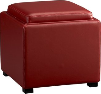 """Crate & Barrel Stow Red 17.5"""" Leather Storage Ottoman"""