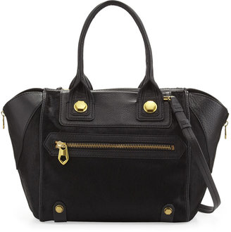Oryany Megan Medium Calf Hair Satchel Bag, Black