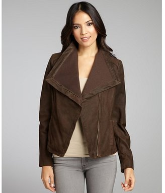 Nicole Miller chocolate leather and knit moto jacket