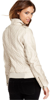 GUESS Jacket, Long-Sleeve Faux-Leather Quilted