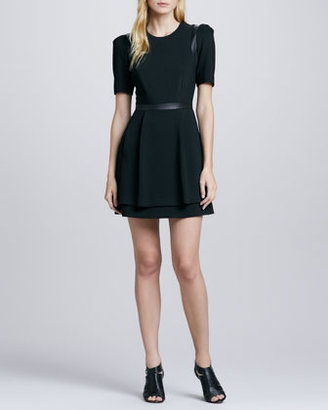 Milly Leather-Inset Swing Dress (Stylist Pick!)