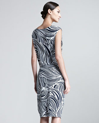 Escada Elira Ocean Printed Jersey Dress