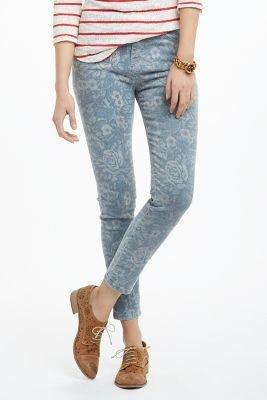 Current/Elliott The High Waist Crop Skinny Jeans Mood Indigo Floral 32 Denim