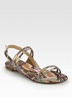 Stuart Weitzman Rolldown Metallic Snake-Embossed Leather Sandals
