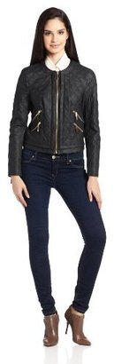 Chaus Women's Long Sleeve Quilted Pleather Jacket