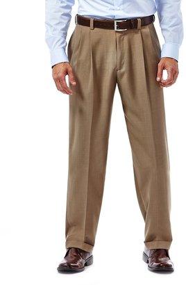 Haggar Big & Tall eCLo Stria No-Iron Classic-Fit Comfort Waist Pleated Dress Pants