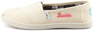 Toms Personalized Classic Canvas Slip-On, Natural, Youth
