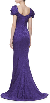 Zac Posen Ruched Cap-Sleeve Fishtail Gown, Violet