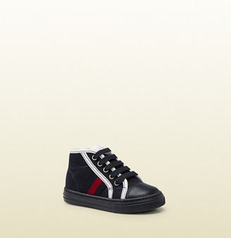 Gucci Blue Fabric High-Top Sneaker With Web Detail