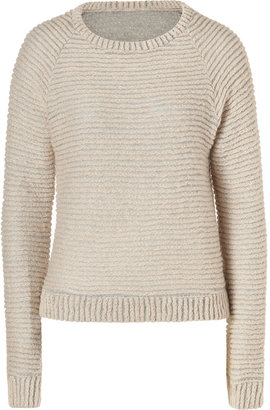 L'Agence LAgence Natural Striped Raglan Sleeve Pullover