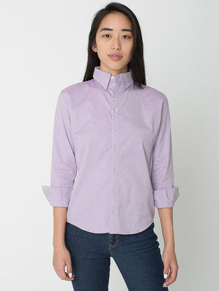American Apparel Unisex Pinpoint Oxford Long Sleeve Button-Down
