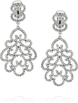 Kenneth Jay Lane Rhodium-plated Swarovski crystal clip earrings