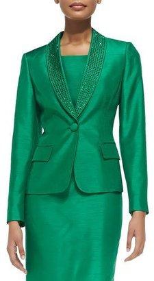 Albert Nipon Bead-Trim Sheath Dress with Jacket $395 thestylecure.com