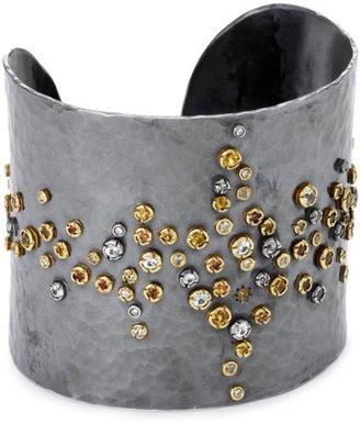 Annie Fensterstock Lightning Silver, 22k Yellow Gold, Diamond and Sapphire Cuff Bracelet