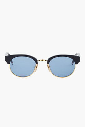 Thom Browne Navy & Gold Half-Frame Sunglasses