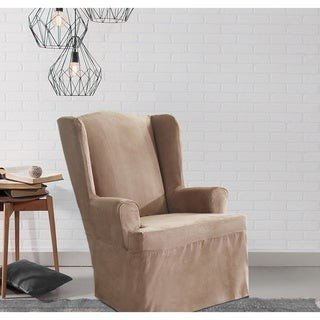 Sure Fit Smooth Suede Wing Chair Slipcover