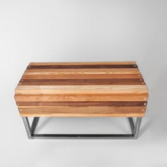west elm Slatted Wood + Steel Ottoman