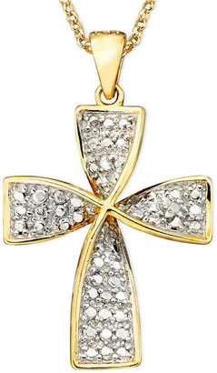 Townsend Victoria 18k Gold over Sterling Necklace, Diamond Accent Cross Pendant