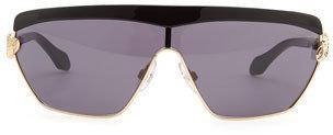 Roberto Cavalli Mirihi Shield Sunglasses, Golden/Black
