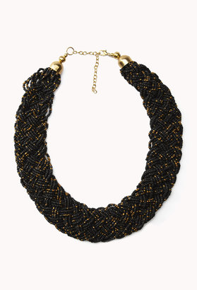 Forever 21 Braided Metallic Bead Necklace