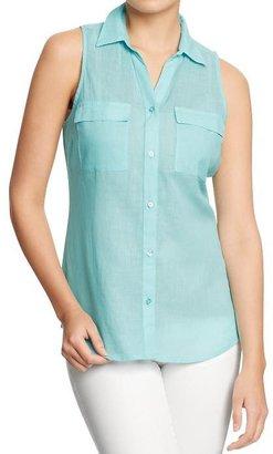 Old Navy Women's Sleeveless Linen-Blend Shirts