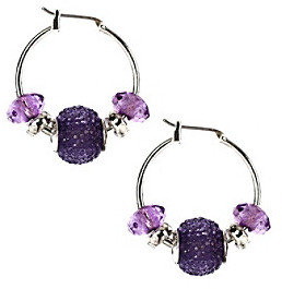 Napier® Silvertone and Purple Textured Beaded Click It Hoop Earrings