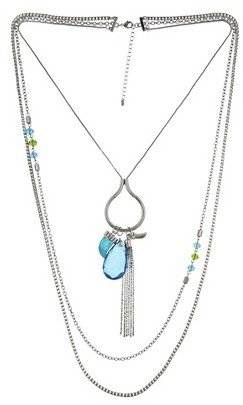 Women's Long Necklace - Silver/Blue