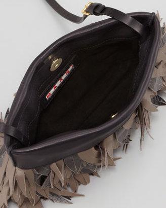 Marni Lambskin Fringe Pochette Bag, Charcoal