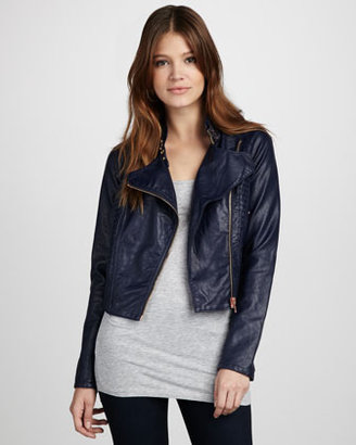 Blank Faux-Leather Motorcycle Jacket