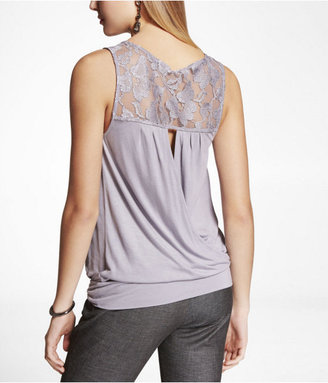 Express Lace Yoke Surplice Back Blouson Tank