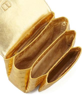Nancy Gonzalez Crocodile Compartmentalized Crossbody Bag, Gold