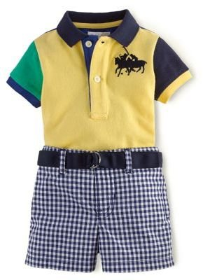 Ralph Lauren Newborn Boys 0-9 Months Color-Blocked Polo Shirt & Gingham Shorts