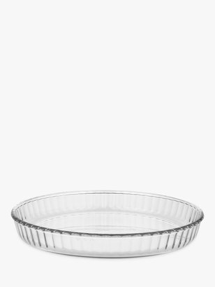 Pyrex Fluted Glass Round Flan Oven Dish, Dia.25cm