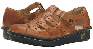 Alegria Pesca (Cognac Leather) Women's Hook and Loop Shoes