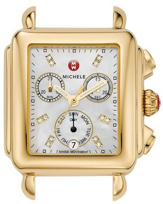 Women's Michele Deco Diamond Dial Gold Plated Watch Case, 33Mm X 35Mm $995 thestylecure.com