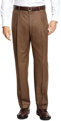 Brooks Brothers Madison Fit Pleat-Front Flannel Trousers