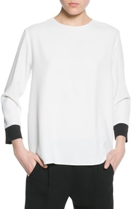 MANGO Outlet Contrast Cuff Blouse