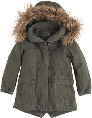 J.Crew Girls' utility jacket with faux-fur trim