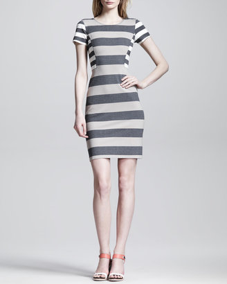 Derek Lam 10 Crosby Striped Side-Panel Sheath Dress