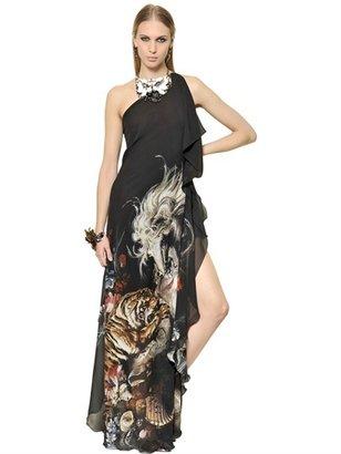 Roberto Cavalli Printed Silk Georgette Long Dress