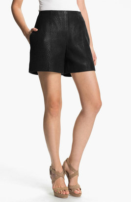 Carven High Waist Leather Shorts