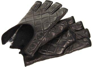 Rachel Zoe Fingerless Quilted Glove with Zipper (Black) - Accessories
