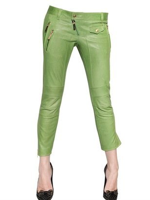 DSquared Cropped Biker Nappa Leather Trousers