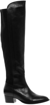 Asos KOOL Leather Over The Knee Boots - Black