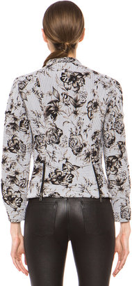 3.1 Phillip Lim Floral Relief Print Corded Motorcycle Jacket in Antique White