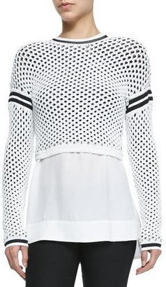 Helmut Lang Modern Mesh Pullover with Taping Details $370 thestylecure.com
